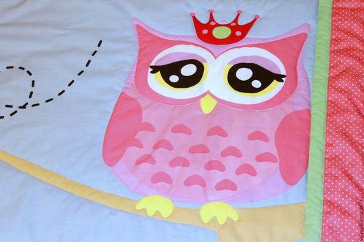 Пледы и одеяла ручной работы. Ярмарка Мастеров - ручная работа. Купить Детское покрывало Сова-принцесса. Handmade. Комбинированный