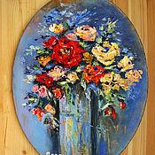 Картины и панно handmade. Livemaster - original item Painting on canvas oil painting RED ROSE BOUQUET. Handmade.