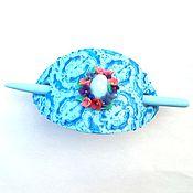Украшения handmade. Livemaster - original item Barrette Blue Elegy (fibula, shawl pin, blue). Handmade.