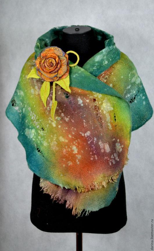 """Шарфы и шарфики ручной работы. Ярмарка Мастеров - ручная работа. Купить шарф валяный """"Вечер в тропиках"""". Handmade. Морская волна"""