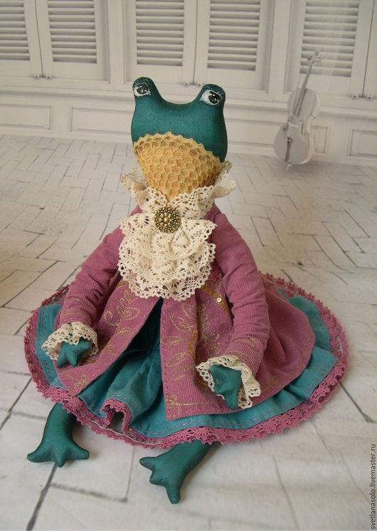 Игрушки животные, ручной работы. Ярмарка Мастеров - ручная работа. Купить Текстильная лягушка Диана. Handmade. Брусничный, подарок женщине