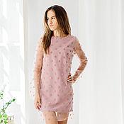 Одежда handmade. Livemaster - original item Dress - mesh color pink foam. Handmade.