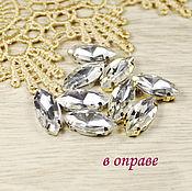 Материалы для творчества handmade. Livemaster - original item Glass rhinestone 15h7 mm Crystal in gold and silver rims. Handmade.