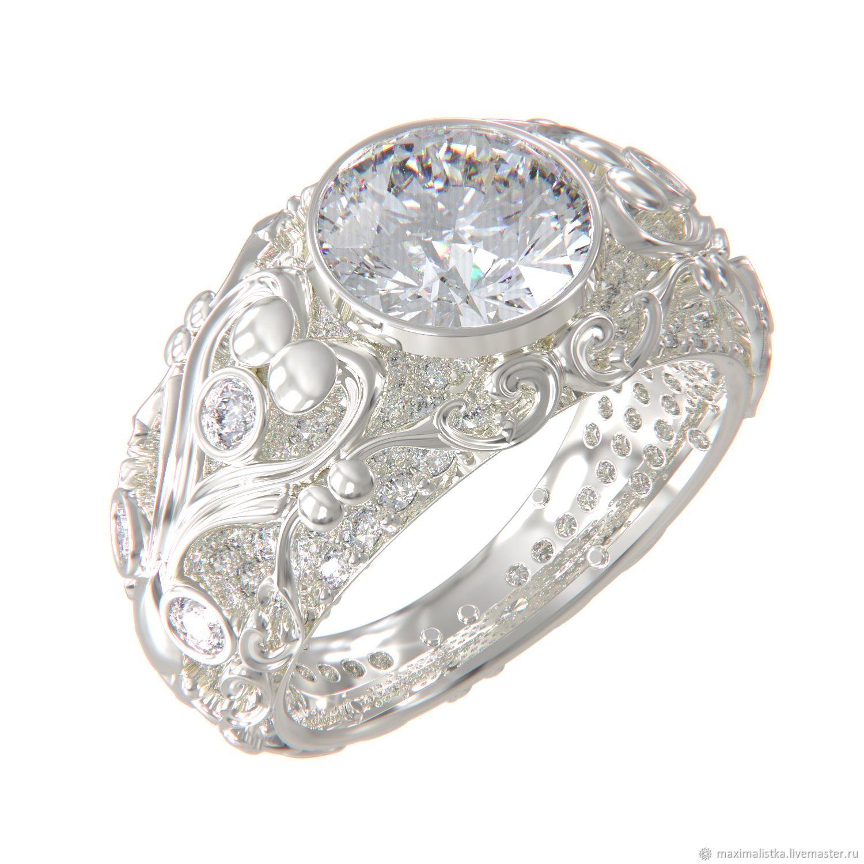 ... белого золота 585 пробы, с бриллиантами. Кольца ручной работы. Ярмарка  Мастеров - ручная работа. Купить Золотое кольцо
