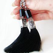 Украшения ручной работы. Ярмарка Мастеров - ручная работа Серьги кисточки с чёрным ониксом. Handmade.