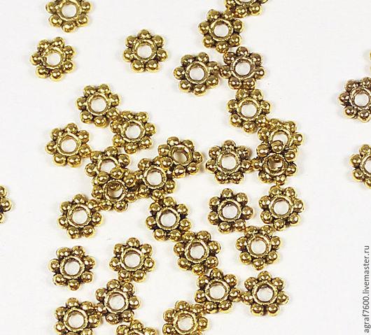 Для украшений ручной работы. Ярмарка Мастеров - ручная работа. Купить Рондели (спейсеры), 4 мм, цвет античное золото, разделители. Handmade.
