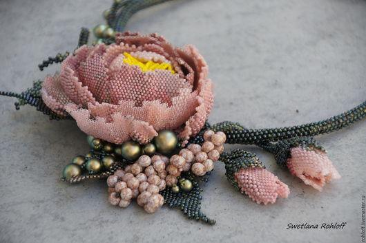 """Кулоны, подвески ручной работы. Ярмарка Мастеров - ручная работа. Купить Колье  ,,В розовом тумане"""". Handmade. Зеленый, цветы"""