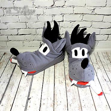 Footwear handmade. Livemaster - original item Slippers Wolf. Handmade.