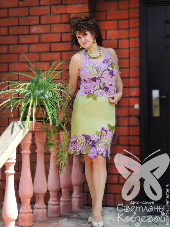 Сиреневый костюм женский