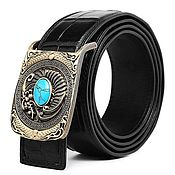 Аксессуары handmade. Livemaster - original item Men`s belt made of crocodile, in black color.. Handmade.