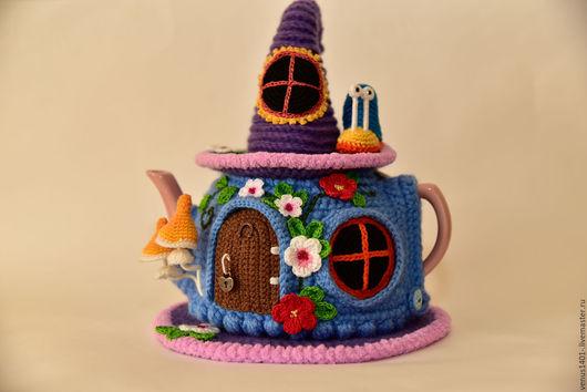 Кухня ручной работы. Ярмарка Мастеров - ручная работа. Купить Улитка и бабочка в волшебном домике. Handmade. Синий, вязаный домик