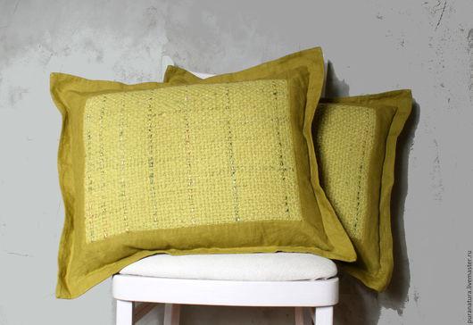 """Текстиль, ковры ручной работы. Ярмарка Мастеров - ручная работа. Купить Комплект из двух подушек """"Липа"""". Handmade. Салатовый, интерьерная"""