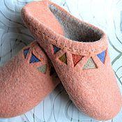 """Обувь ручной работы. Ярмарка Мастеров - ручная работа Домашние тапочки """"Simply Orange"""". Handmade."""