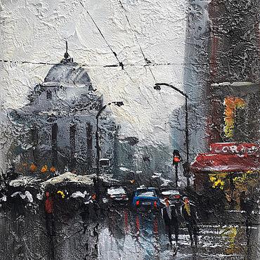 """Картины и панно ручной работы. Ярмарка Мастеров - ручная работа Фактурная картина """"Город после дождя"""". Handmade."""