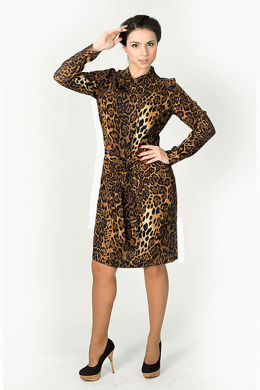 Dresses handmade. Livemaster - handmade. Buy Dress - Brown leopard.Dress for each day, dress with sleeve