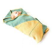 Для дома и интерьера ручной работы. Ярмарка Мастеров - ручная работа плед детский, плед из мериноса вязаный шерстяной плед, зеленый, желтый. Handmade.