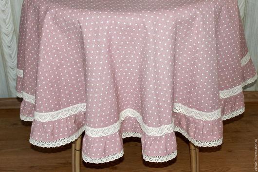 Текстиль, ковры ручной работы. Ярмарка Мастеров - ручная работа. Купить Льняная круглая скатерть  Кофе с молоком 160 см  Горошек. Handmade.