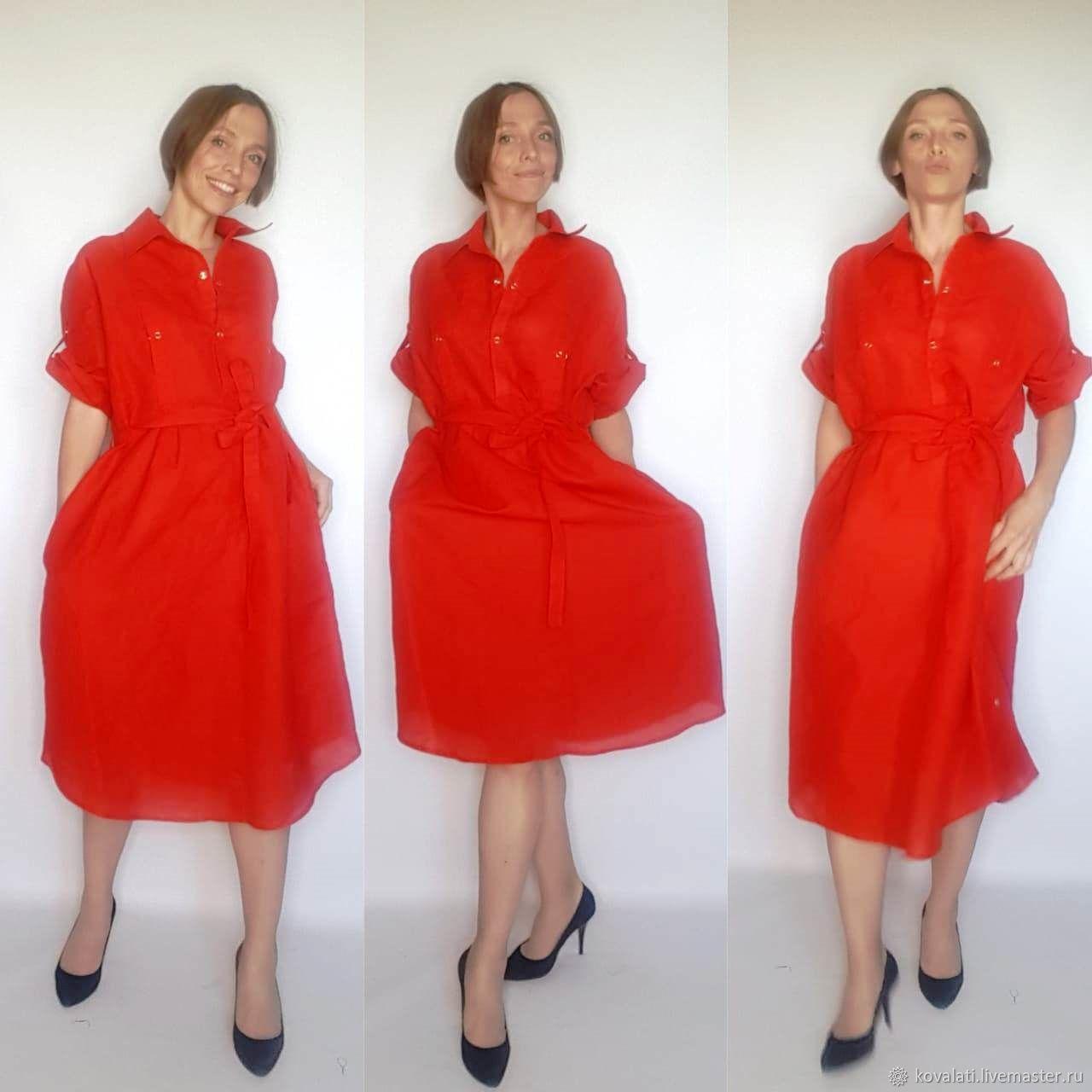 Платье-туника 3 в 1 Красное 100 % лен удлиненное, Платья, Астрахань,  Фото №1