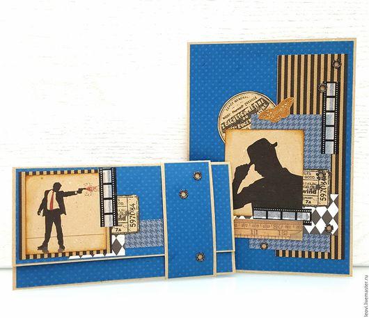 Открытки для мужчин, ручной работы. Ярмарка Мастеров - ручная работа. Купить Мужской комплект. Handmade. Мужской подарок, бумага для скрапбукинга