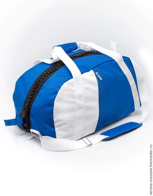 Спортивные сумки ручной работы. Ярмарка Мастеров - ручная работа. Купить Сумка-рюкзак бело-голубая. Handmade. Комбинированный, голубой