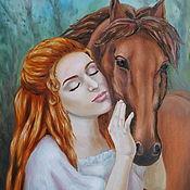 Картины и панно handmade. Livemaster - original item Oil painting Girl and horse. Handmade.