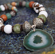 Украшения handmade. Livemaster - original item Necklace Green pool, green slice agate pendant large white brown. Handmade.