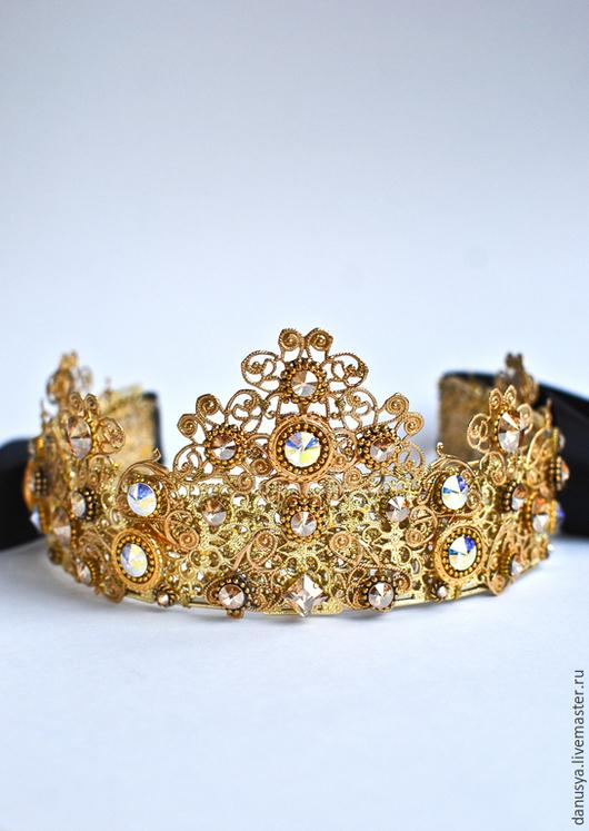 Диадемы, обручи ручной работы. Ярмарка Мастеров - ручная работа. Купить Корона в стиле DOLCE&GABBANA (4). Handmade. Корона, филигрань