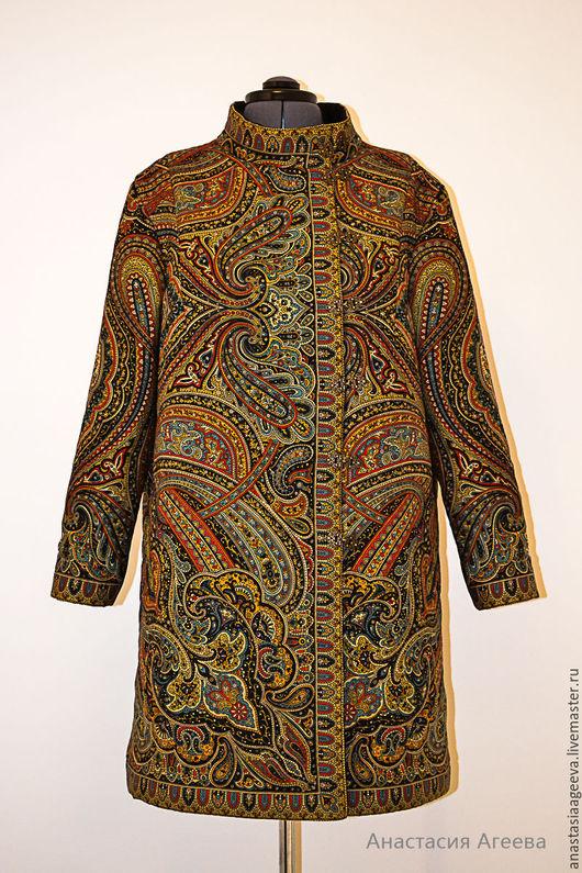 """Большие размеры ручной работы. Ярмарка Мастеров - ручная работа. Купить Пальто """"Таинственный вечер"""" .. Handmade. Цветочный, пальто на подкладе"""