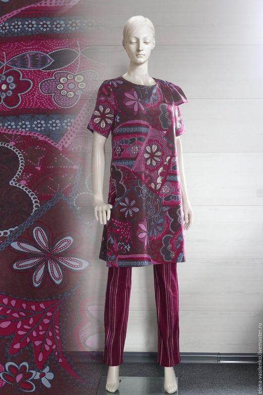 Платья ручной работы. Ярмарка Мастеров - ручная работа. Купить Платье-туника Пёстрое лето. Handmade. Комбинированный, платье льняное