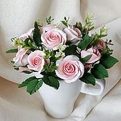 """Букет с цветами из полимерной глины """" Букетик роз """""""
