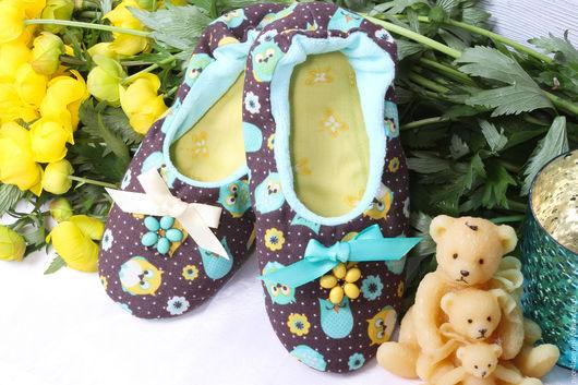 """Детская обувь ручной работы. Ярмарка Мастеров - ручная работа. Купить Детские домашние тапочки """"Мишутка"""". Handmade. Комбинированный"""