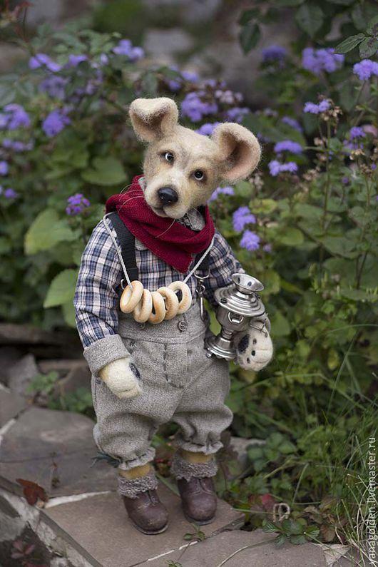 Игрушки животные, ручной работы. Ярмарка Мастеров - ручная работа. Купить Собака из шерсти.. Handmade. Оранжевый, собака тедди, пластика