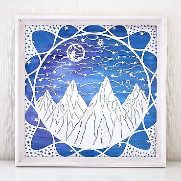Картины и панно ручной работы. Ярмарка Мастеров - ручная работа Горы. Интерьерная картина, вырезанная из бумаги. Handmade.