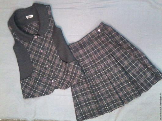 Одежда для девочек, ручной работы. Ярмарка Мастеров - ручная работа. Купить Комплект для девочки. Handmade. Комбинированный, школьная форма, полушерсть