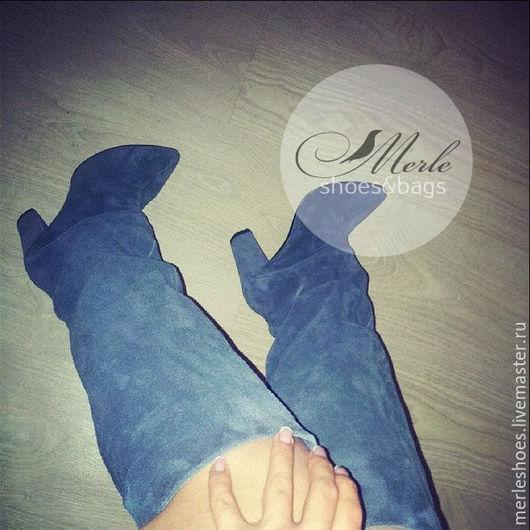 Обувь ручной работы. Ярмарка Мастеров - ручная работа. Купить Сапожки Comfort серый замш 10 см. Handmade. Бирюзовый