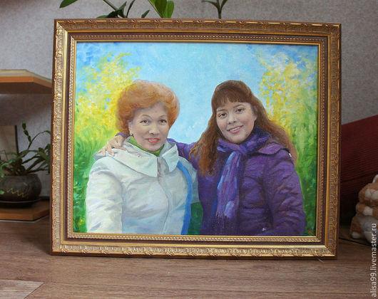 Люди, ручной работы. Ярмарка Мастеров - ручная работа. Купить Семейный портрет (на заказ). Handmade. Живопись, дочурка, любовь