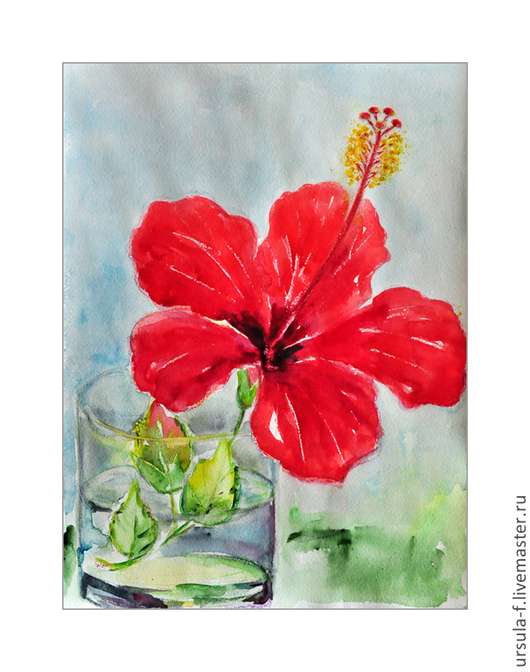 картина акварелью с цветами