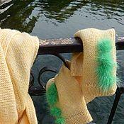 Аксессуары handmade. Livemaster - original item Yellow knitted scarf and mittens with POM-poms. Handmade.