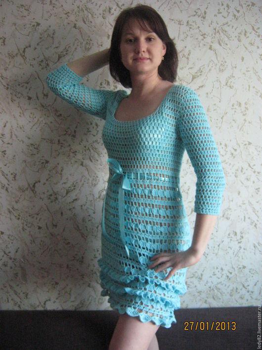 Пляжные платья ручной работы. Ярмарка Мастеров - ручная работа. Купить Летнее настроение. Handmade. Бирюзовый, однотонный, ажурная туника