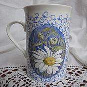 Посуда handmade. Livemaster - original item Chamomile (porcelain mug). Handmade.