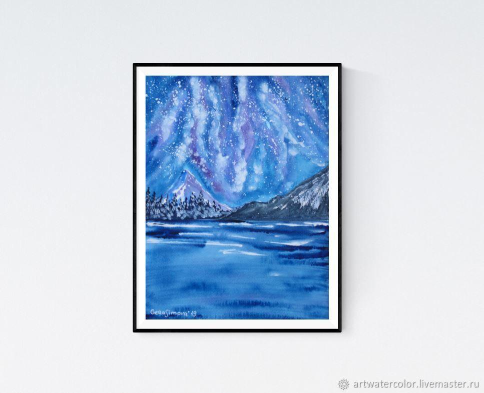 Watercolor Winter lake, Pictures, Vidnoye,  Фото №1
