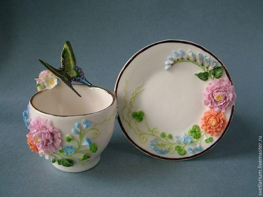 Сервизы, чайные пары ручной работы. Ярмарка Мастеров - ручная работа. Купить Чайная пара Изумрудная красавица. Handmade. Розовый
