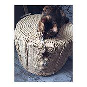 Для дома и интерьера ручной работы. Ярмарка Мастеров - ручная работа вязаный пуф Kozaa`s bags Косы, т-пряжа, размер М, НОВАЯ ОСНОВА. Handmade.