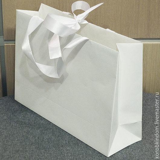Упаковка ручной работы. Ярмарка Мастеров - ручная работа. Купить Сумка 35х25х10 белая с ручками из лент. Handmade. Пакет