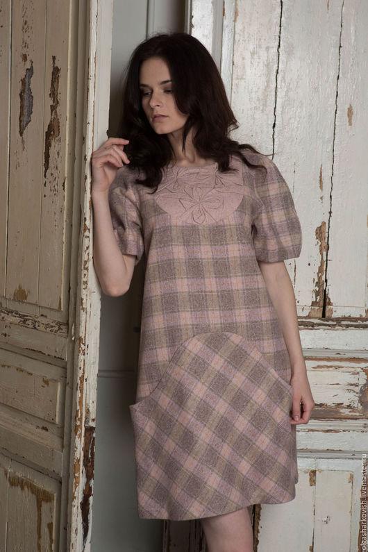Платья ручной работы. Ярмарка Мастеров - ручная работа. Купить платье в клетку. Handmade. В клеточку, платье из шерсти