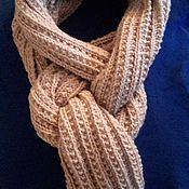 Шарфы ручной работы. Ярмарка Мастеров - ручная работа Длинный шарф светло-бежевый. Handmade.