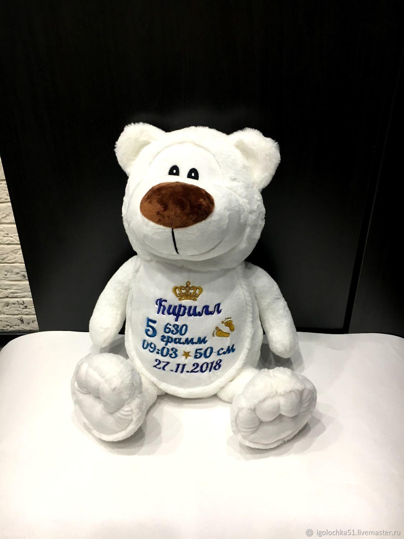 WHITE TEDDY BEAR with embroidery of metrics, Stuffed Toys, Murmansk,  Фото №1