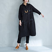 Одежда ручной работы. Ярмарка Мастеров - ручная работа Черная х/б рубашка для деловой женщины роскошных форм. Handmade.