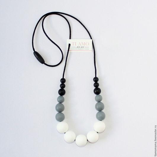 Цвет Черно-бело-серый Бусины круглые разного диаметра Длина 80 см (можно укоротить)