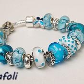 Украшения handmade. Livemaster - original item Blue charm bracelet. Handmade.